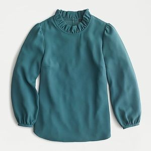 Jcrew XS long sleeve ruffle neck top new with tags